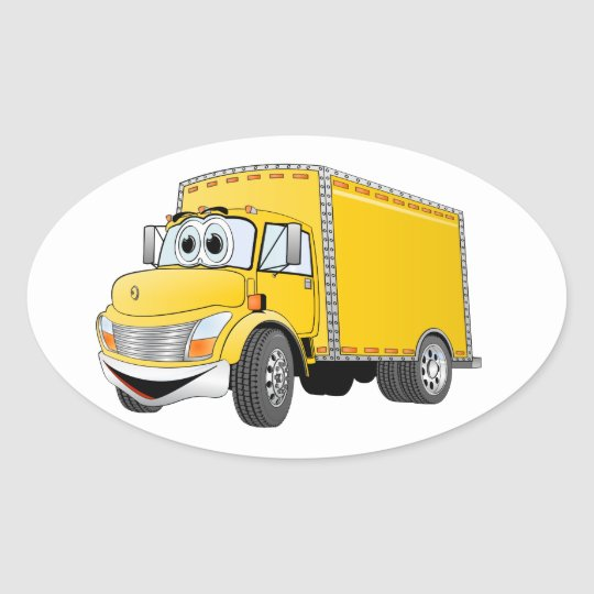 Delivery Truck Yellow Cartoon Oval Sticker