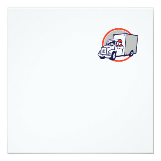 "Delivery Van Driver Thumbs Up Circle Cartoon 5.25"" Square Invitation Card"