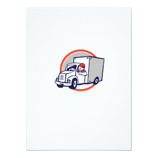 "Delivery Van Driver Thumbs Up Circle Cartoon 5.5"" X 7.5"" Invitation Card"