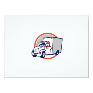 "Delivery Van Driver Thumbs Up Circle Cartoon 6.5"" X 8.75"" Invitation Card"