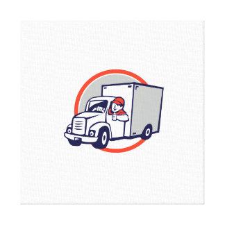 Delivery Van Driver Thumbs Up Circle Cartoon Canvas Print