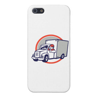 Delivery Van Driver Thumbs Up Circle Cartoon Cover For iPhone 5/5S