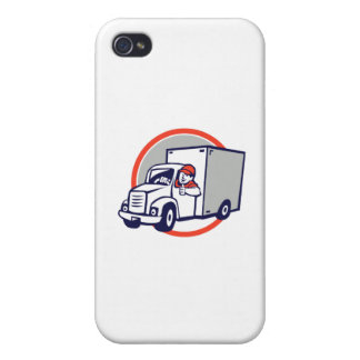 Delivery Van Driver Thumbs Up Circle Cartoon iPhone 4 Case