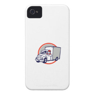 Delivery Van Driver Thumbs Up Circle Cartoon iPhone 4 Case-Mate Cases