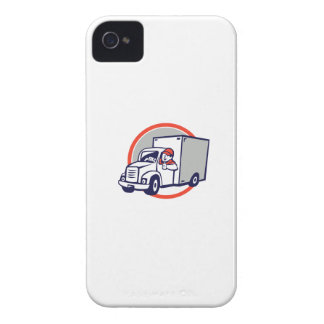Delivery Van Driver Thumbs Up Circle Cartoon iPhone 4 Covers