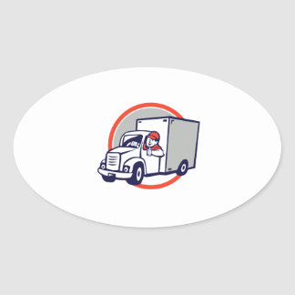 Delivery Van Driver Thumbs Up Circle Cartoon Oval Sticker