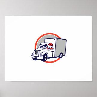 Delivery Van Driver Thumbs Up Circle Cartoon Poster