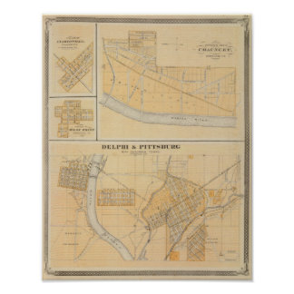 Delphi & Pittsburg with suburban towns Poster