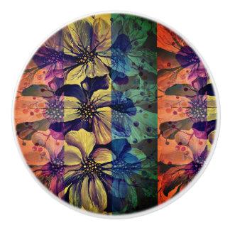 Delphinium  flowers painting ceramic knob