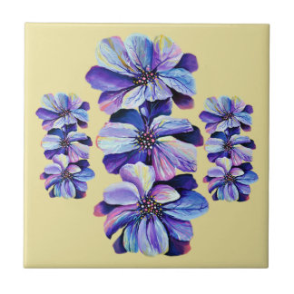 Delphinium  flowers painting tile