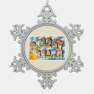 Delray Beach Florida FL Vintage Travel Souvenir Snowflake Pewter Christmas Ornament