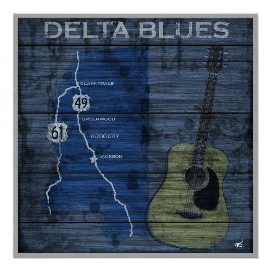 Delta Blues Grunge Blues Highway Poster