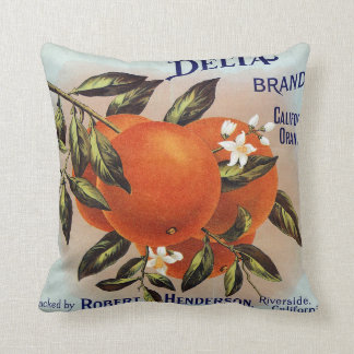 Delta Brand California Orange Crate Label Throw Pillow