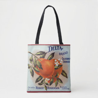 Delta Brand Oranges Citrus Crate Label Tote Bag