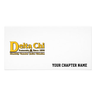 Delta Chi Name and Logo Gold Customized Photo Card