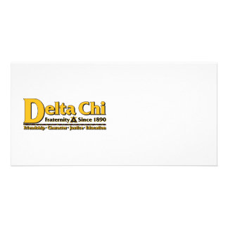 Delta Chi Name and Logo Gold Personalized Photo Card
