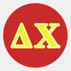 Delta Chi Yellow Letters Classic Round Sticker