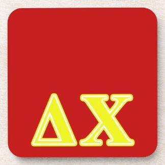 Delta Chi Yellow Letters Coaster