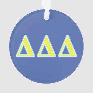 Delta Delta Delta Blue and Yellow Letters Ornament