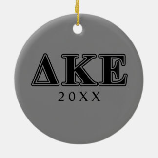 Delta Kappa Epsilon Black Letters Round Ceramic Ornament