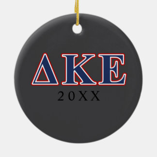 Delta Kappa Epsilon Blue and Red Letters Round Ceramic Ornament