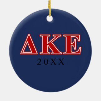 Delta Kappa Epsilon Red Letters Round Ceramic Ornament