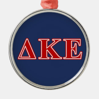 Delta Kappa Epsilon Red Letters Silver-Colored Round Ornament