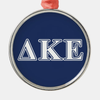 Delta Kappa Epsilon White and Blue Letters Silver-Colored Round Ornament