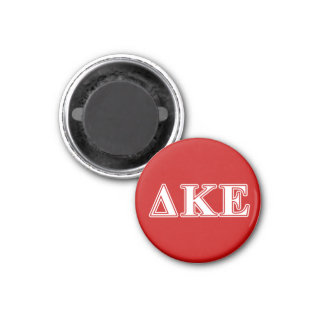 Delta Kappa Epsilon White and Red Letters 1 Inch Round Magnet