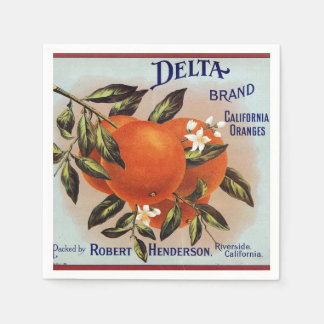 Delta Oranges Fruit Crate Label Paper Napkins