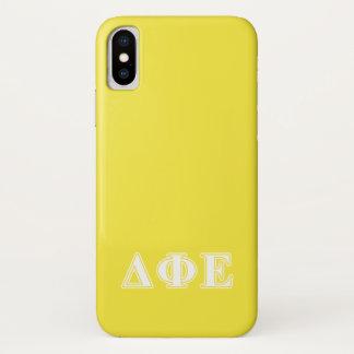 Delta Phi Epsilon White and Yellow Letters iPhone X Case