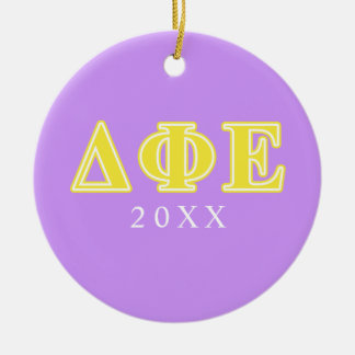 Delta Phi Epsilon Yellow Letters Ceramic Ornament