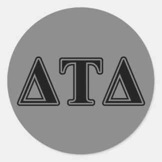Delta Tau Delta Black Letters Classic Round Sticker