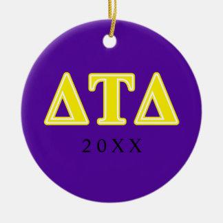 Delta Tau Delta Yellow Letters Ceramic Ornament