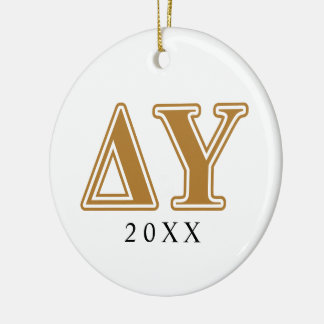 Delta Upsilon Gold Letters Round Ceramic Ornament