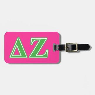 Delta Zeta Green Letters Luggage Tag