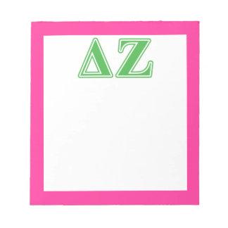 Delta Zeta Green Letters Notepad