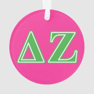 Delta Zeta Green Letters Ornament
