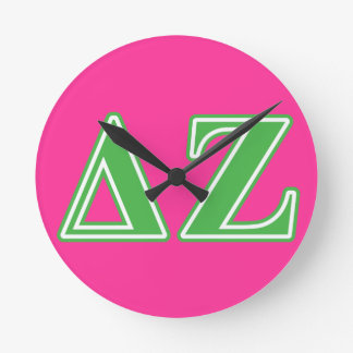 Delta Zeta Green Letters Round Clock