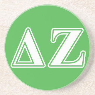 Delta Zeta White and Green Letters Beverage Coaster