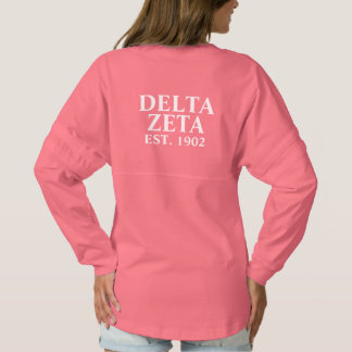 Delta Zeta White and Green Letters Spirit Jersey