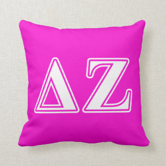 Delta Zeta White and Pink Letters Throw Pillow