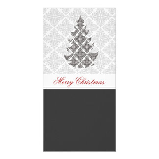 DeLuxe Black and White Damask Christmas Tree Photo Card Template