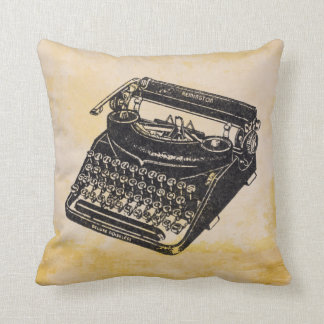 Deluxe Vintage Noiseless Typewriter Distressed Throw Pillow