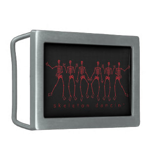 dem bones dancin' red skeletons rectangular belt buckle