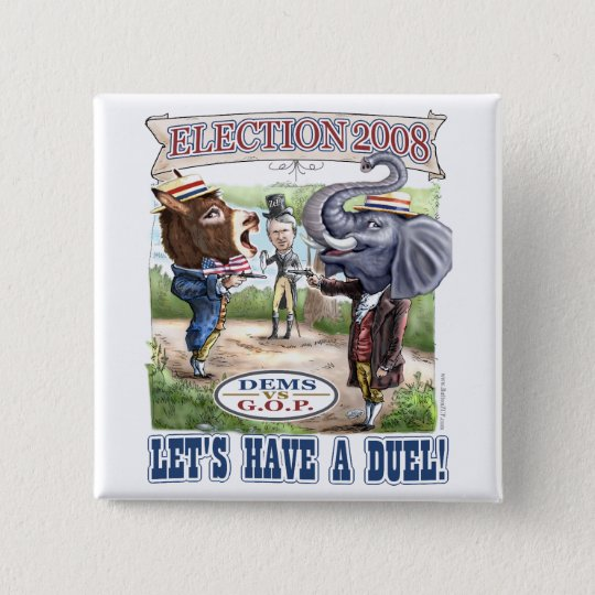 Dem Donkey vs GOP Elephant Button
