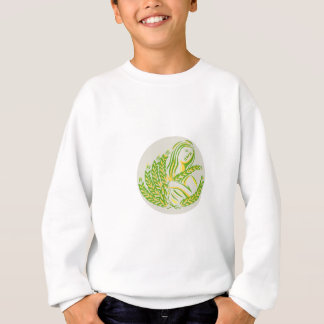Demeter Harvest Wheat Grain Circle Retro Sweatshirt