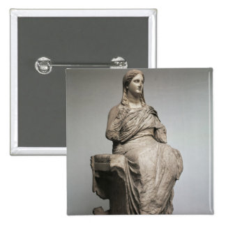 Demeter, statue from Knidos, Asia Minor, c.350BC 2 Inch Square Button