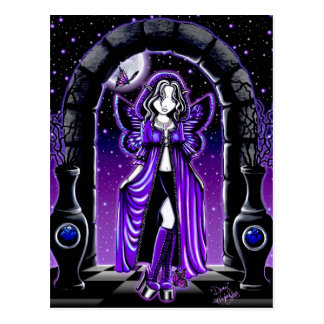 """Demi"" Gothic Blue Butterfly Fairy Art Postcard"