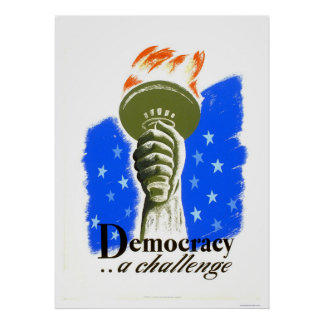 Democracy A Challenge 1940 WPA Poster